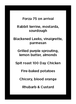 The menu in full. And all for £35. Photo: FW