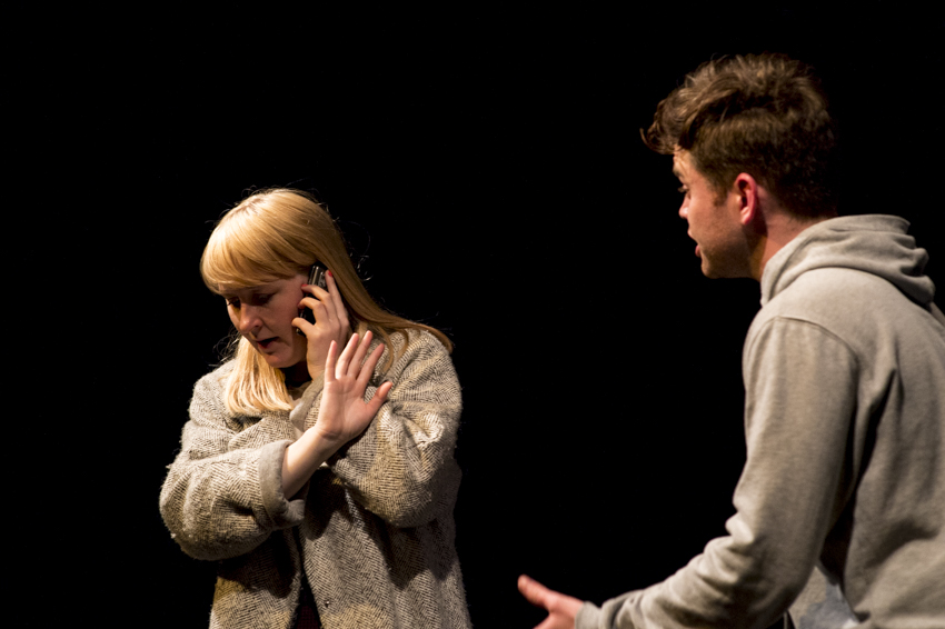 'It's left to the audience to determine whether we should be apportioning blame.' Aaron Stephen Foy and Natalie Bridge in Talking to Alice by Lucinda Burnett