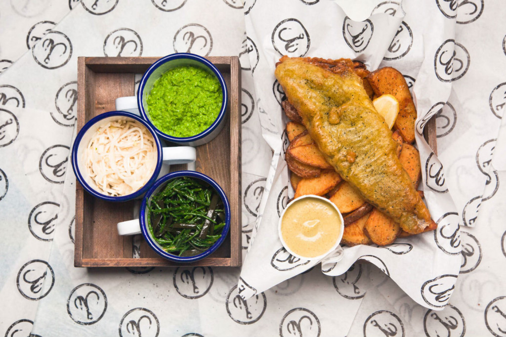 Fish tempura with chips and sauces at Hook. Photo: PR