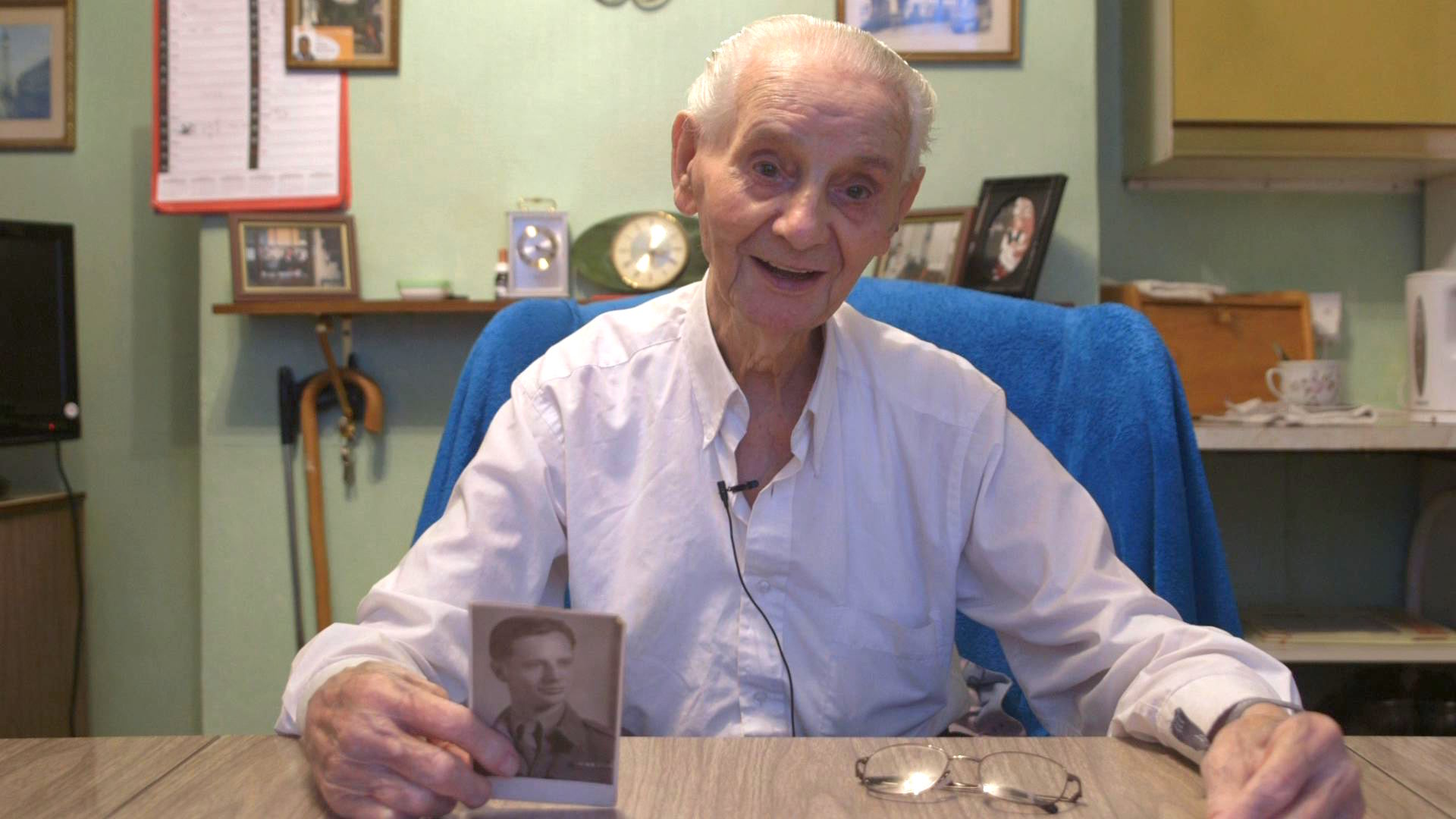 Fred shows us a wartime portrait of himself