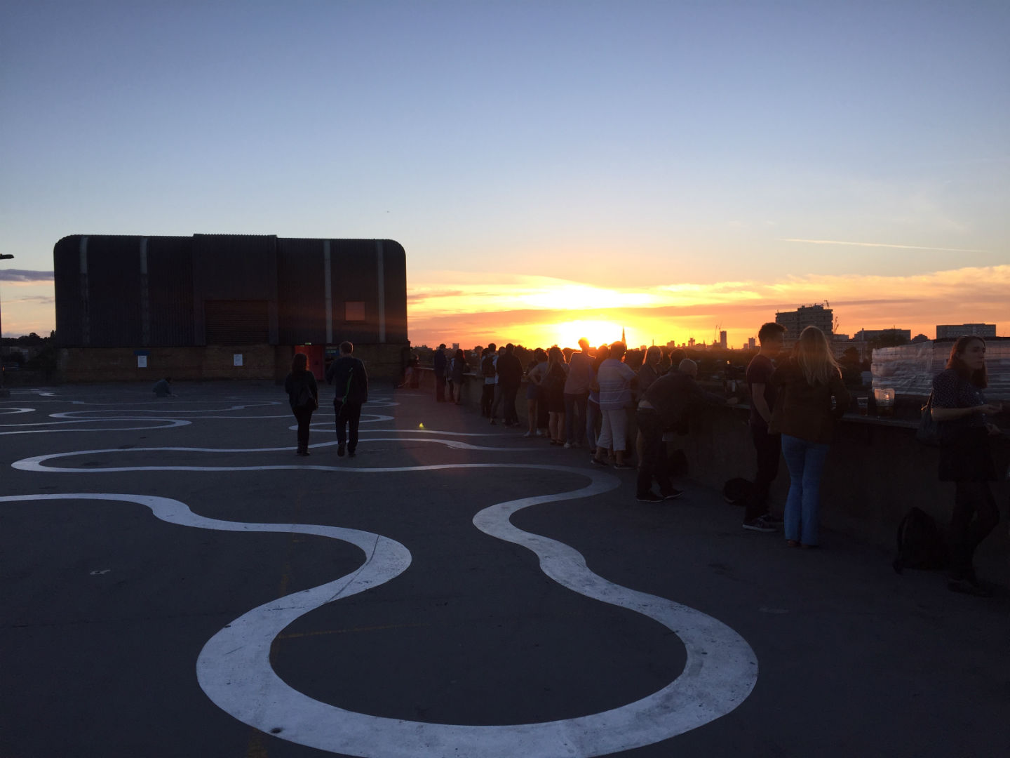 And it's gone: artist Richard Wentworth's Agora abstract art on the roof of the multi-storey car looks good at night. Photo: SE