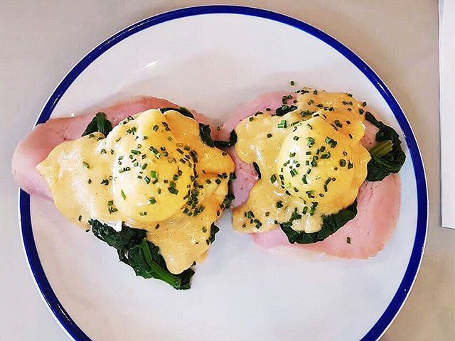 Eggs benedict at Parlez with Doisy & Dam founders
