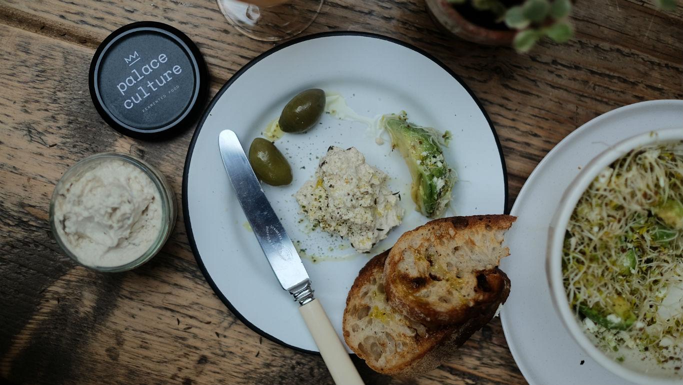 Humus, bread and olives at Catford Vegan Festival