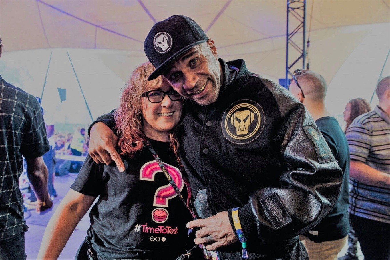 Prof. Fiona Measham and Goldie hanging out at a festival