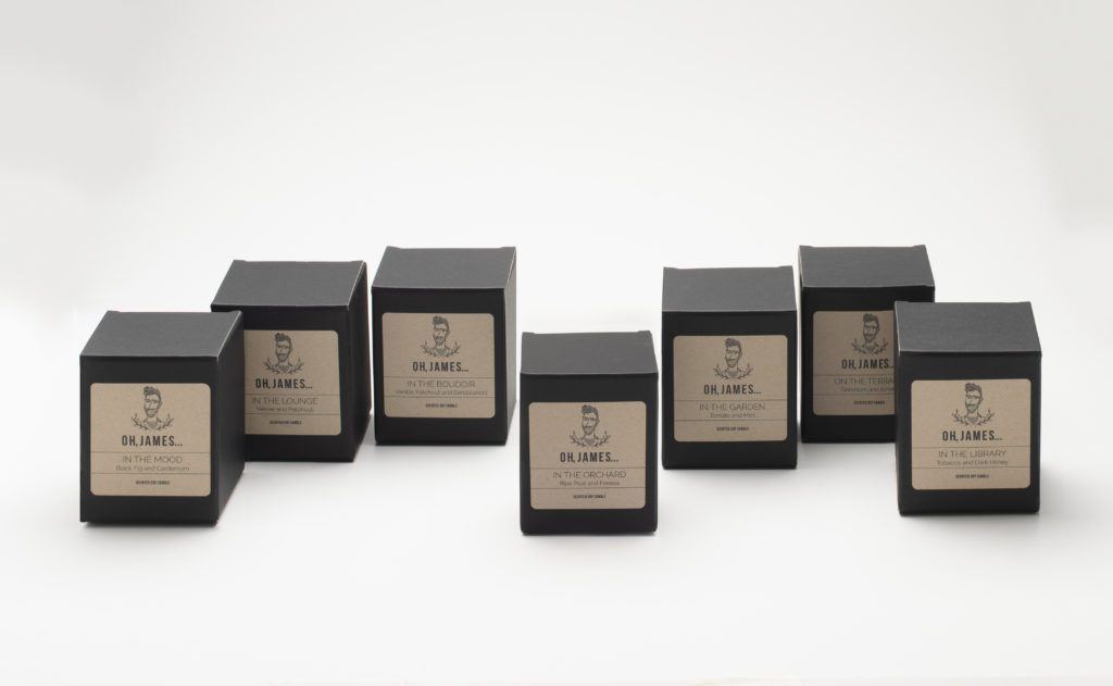 An array of candles in boxes from Oh James candles